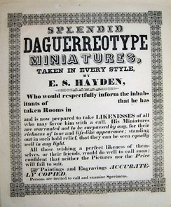 Advertisement for a traveling daguerreotype photographer, with location left blank