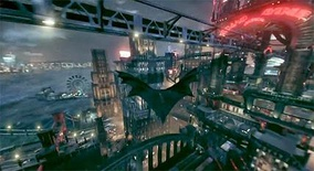Batman: Arkham Knight lets the player glide Batman all throughout the city using his cape.