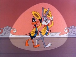 Bugs and Daffy Duck in the opening of The Bugs Bunny Show (1960-2000).