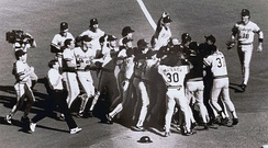 Pirates clinch the Division Title in St. Louis, 1990.
