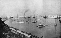 British and German ships saluting Kaiser Wilhelm II, Kiel, 24 June 1914; the four King George V-class ships are in the center background