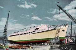 The MS Princess of Tasmania prior to being launched at the State Dockyard in November 1958