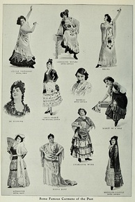 Various singers depicted in the role of Carmen. Galli-Marie is second from left, middle group