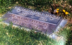 A footstone-style grave marker for Casey and Edna Stengel