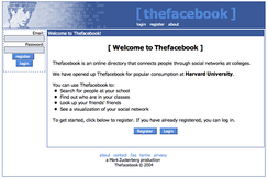 Original layout and name of Thefacebook in 2004, showing singer Peter Wolf's face superimposed with binary numbers as Facebook's original logo, designed by co-founder Andrew McCollum[16]