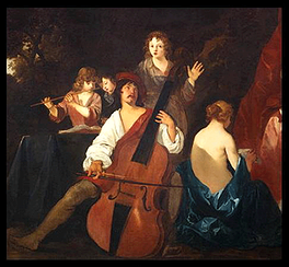 Some early basses were conversions of existing violones. This 1640 painting shows a violone being played.