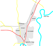 A map of Eaglescliffe showing main roads and estates.