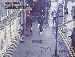 The four bombers captured on CCTV at Luton station at 7:21 am on 7 July 2005. From left to right: Hasib Hussain, Germaine Lindsay, Mohammad Sidique Khan, and Shehzad Tanweer.[14]