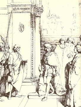 The capture of the Count of Carmagnola in an old print.