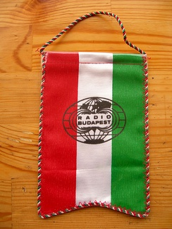 A pennant sent to overseas listeners by Radio Budapest in the late 1980s