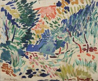Henri Matisse, Landscape at Collioure, 1905, Museum of Modern Art, New York City. Fauvism a Modernist movement in Paris active from 1900–1907.