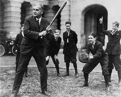 Senator Pepper enjoys a game of baseball with the Senate pages in the 1920s.