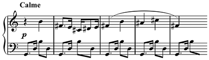 Example of polytonality or extended tonality from Milhaud's Saudades do Brasil (1920) Play (help·info), right hand in B major and left hand in G major, or both hands in extended G major (Leeuw 2005, 87).