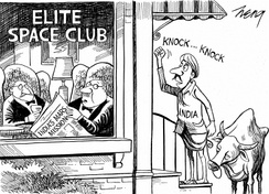 The New York Times cartoon published during the Mars Orbiter Mission