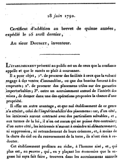 First page of Dousset 1792 French patent for a tontine