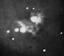Henry Draper's 1880 photograph of the Orion Nebula, the first ever taken.