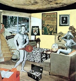 A collage of many different styles shows a mostly naked man and woman in a house.