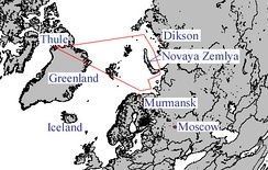 A typical reconnaissance route from Thule AB (Greenland) to Soviet Union flown by RB-47H crews