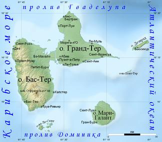 Физическая карта Гваделупы