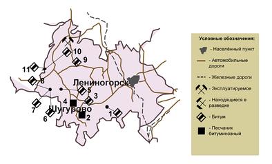 Карта-схема битумных месторождений