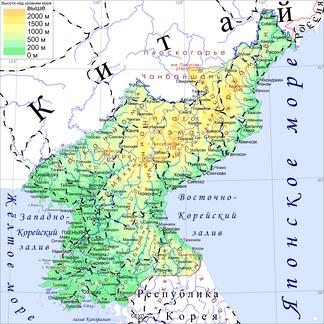 Физическая карта КНДР