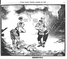 Рандеву. Британская карикатура на раздел Польши. Гитлер: «Отброс общества, если я не ошибаюсь?» Сталин: «Кровавый убийца рабочих, осмелюсь предположить?» («Evening Standard», 20.09.1939)