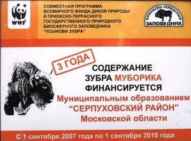 Сертификат участия в акции «Усынови зубра», осуществляемый совместно с WWF