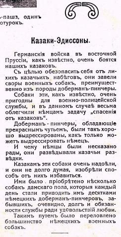 Казаки Эдиссоны и немецкие доберман-пинчеры. ПМВ, 1914