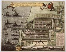 Батавия в XVIIв., ныне— северная часть Джакарты (Нижний город), север— слева.
